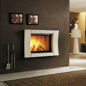 contemporary fireplace surround / steel / earthenware / double-sided