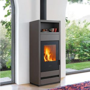 wood heating stove / earthenware / contemporary / with warmer