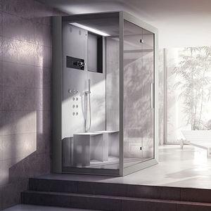 steam shower cubicle / hydromassage / glass / rectangular