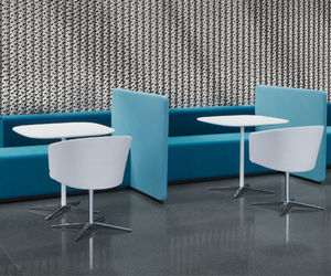 contemporary bistro table / aluminum / MDF / glass