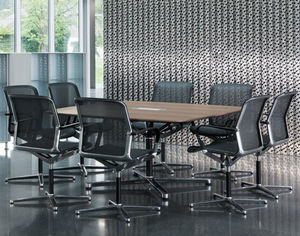 contemporary boardroom table / wooden / aluminum / rectangular