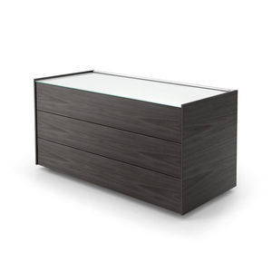 low filing cabinet / wood veneer / aluminum / glass