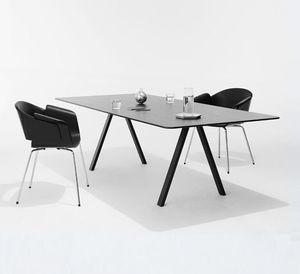 contemporary boardroom table / oak / steel / steel base