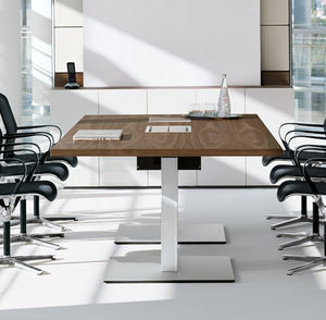 contemporary conference table / wooden / rectangular / oval