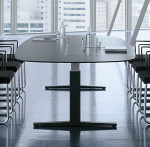 contemporary boardroom table / melamine / rectangular / oval