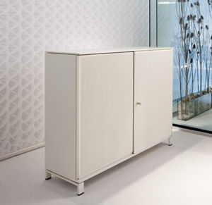 low filing cabinet / tall / laminate / glass