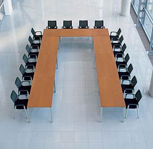 contemporary conference table / metal / rectangular / square
