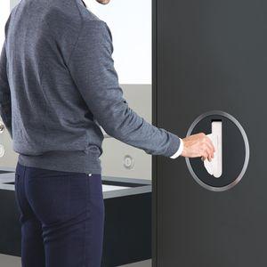 built-in paper towel dispenser / stainless steel / brass / ABS