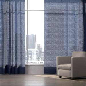 geometric pattern sheer curtain fabric / Trevira CS® / polyester / weave
