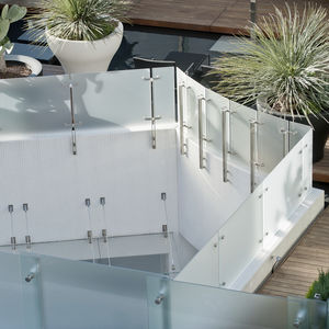 patterned glass panel / for railing / translucent