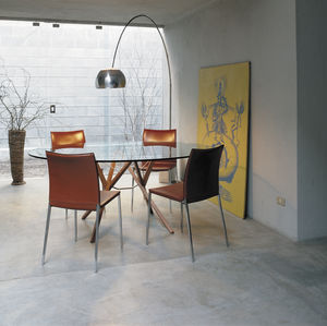 contemporary table / wenge / glass / steel