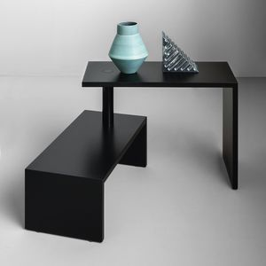 contemporary coffee table / lacquered MDF / steel / lacquered MDF base