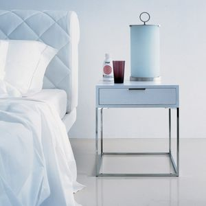 contemporary bedside table / lacquered wood / natural oak / lacquered metal base