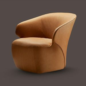 contemporary armchair / fabric / leather / cowhide