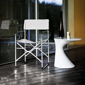contemporary chair / with armrests / folding / with removable cover