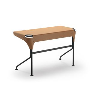 steel desk / leather / cowhide / contemporary