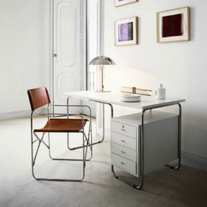 stainless steel desk / contemporary / with storage