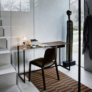 contemporary secretary desk / varnished steel