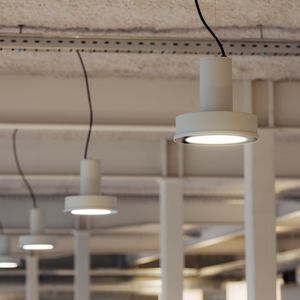 pendant lamp / industrial style / aluminum / tempered glass facing