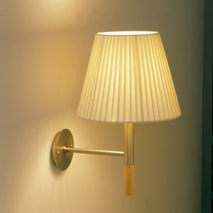 traditional wall light / metal / fabric / beech