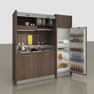 hidden kitchenette / compact / with integrated appliances / for studio apartement