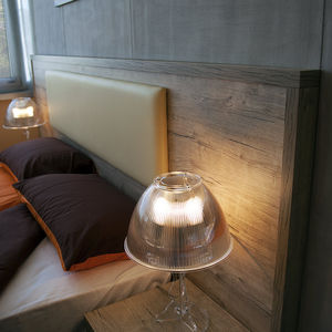 double bed headboard / contemporary / wooden / with integrated bedside table