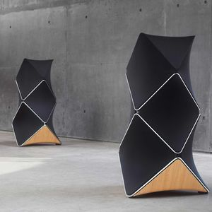 tower speaker / wireless / active / wooden