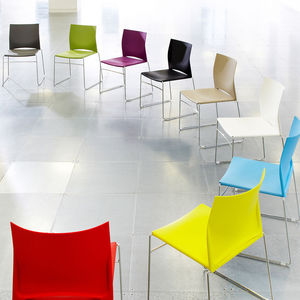 contemporary visitor chair / with armrests / stacking / sled base