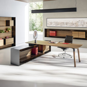 low filing cabinet / walnut / Fenix NTM® / with drawers