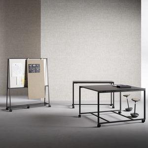 contemporary work table / melamine / metal base / rectangular