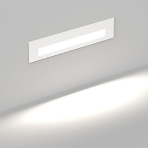 recessed wall light fixture / LED / rectangular / metal