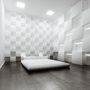 recessed ceiling light fixture / LED / square / opalescent glass