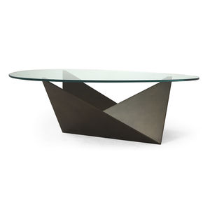 contemporary table / tempered glass / iron base / curved