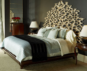 double bed headboard / traditional / wooden