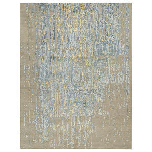 contemporary rug / patterned / silk / New Zealand wool