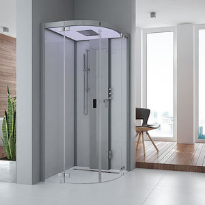 steam shower cubicle / glass / curved / with hinged door