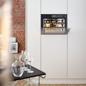 built-in wine cabinet / stainless steel / wooden / glass