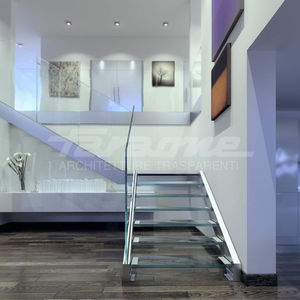 straight staircase / half-turn / metal frame / glass steps