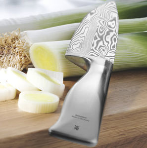 chef's knife with forged Damascus steel blade