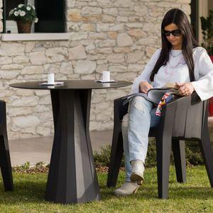 contemporary dining table / HPL / polyethylene / round