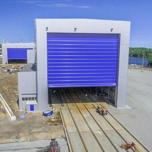 folding industrial doors / metal / waterproof / shipyard