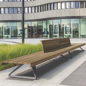 public bench / contemporary / exotic wood / aluminum