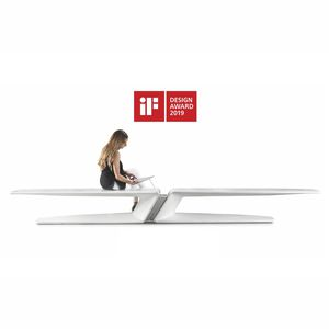public bench / original design / high-performance concrete / with smartphone and tablet charger