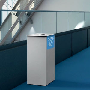 hygienic trash can / powder-coated steel / for public spaces / 60L
