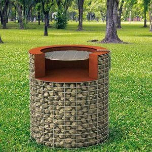 wood-burning barbecue / fixed / stone