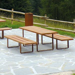 contemporary bench and table set
