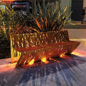 public bench / original design / steel / with backrest