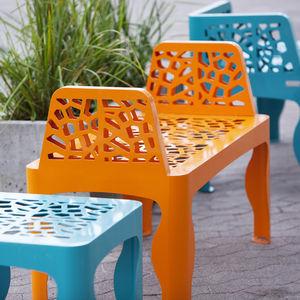 public bench / original design / galvanized steel / COR-TEN® steel