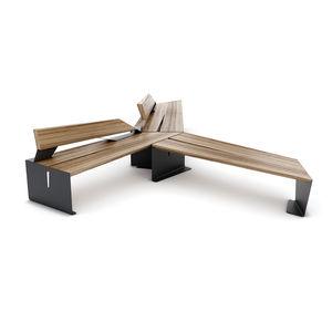 public bench / contemporary / wooden / galvanized steel