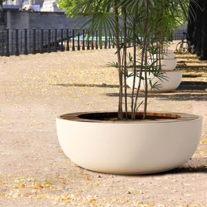 wooden planter / composite / round / with integrated bench